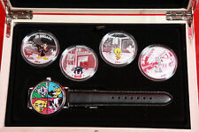 Looney Tunes - 4- 1 oz Proof SIlver Coins & Commerative Watch Set