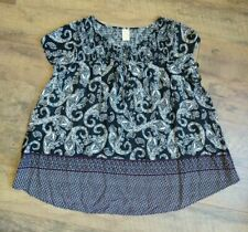 Faded Glory Women's Plus Size 3X Short Sleeve Top Shirt Blouse Black Paisley