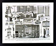 1874 Bilder Agriculture Print Dairy Industry Cheese Processing Butter Churns
