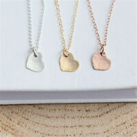 Fashion Women Hammered Beaten Heart Pendant Charm Necklace Gold silver Rose gold