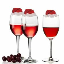 10Pcs Christmas Cup Cards Home Table Christmas Hat Wine Glass Xmas Decoration