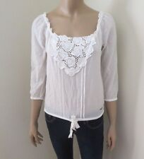 NEW Hollister Womens Floral Sheer Lace Top Shirt Size XS White Silk Blend