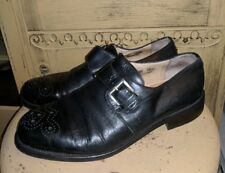 VINTAGE JOSEPH ABBOUD BLACK LEATHER MONK STRAP HIPSTER SHOES ITALY 10.5 M DRESS