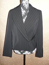 New Spiegel luxury suit blazer jacket sz 12 women pinstripe black white buisness