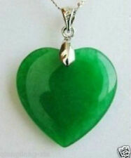 Beautiful Jewelry Green Jade Heart Shape Silver emerald Pendant /necklace