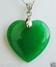 Beautiful Jewelry Green Jade Heart Shape Silver emerald Pendant /necklace