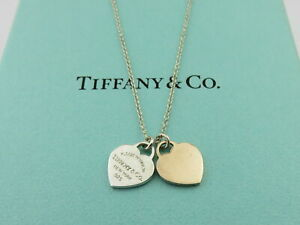 TIFFANY & CO Silver Rubedo Return to Tiffany Double Heart Necklace