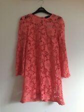 Topshop Coral Peach Crochet Floral Lace Shift Dress - Size 8 a81831f82