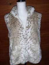 Carolina Colours women's  XL Tan/White zip up sleeve vest jacket Fake fur winter