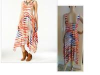 $69.00 American Rag Junior's Handkerchief-Hem Dress, Egret/Multi