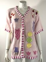 The Quacker Factory Cardigan Summer Sweater Plus Size 1X Pink Embroidered Top