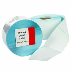 """New Large White Self Adhesive Labels 4×4"""" 80×80 mm Post Direct Thermal Labels UK"""
