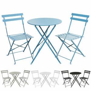 SVITA Balkonmöbel Bistroset Stuhl Tisch klappbar Bistro Cafe Metall Gartenset