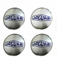 4x 60mm Jaguar Silber Blau Nabendeckel Felgendeckel Nabenkappe Nabendeckung NEU
