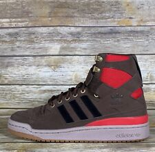 Adidas Forum HI OG Suede Brown Scarlet Gum High Top Mens Sneakers Shoes Size 9
