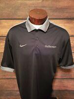 Nike Dri Fit Mens Large Gulfstream Logo Short Sleeve Golf Polo Shirt Black