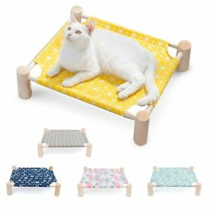 Elevated Pet Bed Removable Washable House Cat Dog Hammock Wooden Canvas Bed