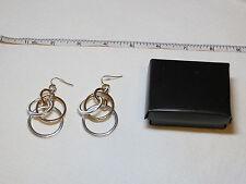 Ladies Womens Avon Shiny Circles dangle Earrings Goldtone & Silvertone NIP;;