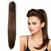 """100% Human Hair Ponytail 15""""-22"""" Straight Claw Clip On Ponytail Hair Extensions"""