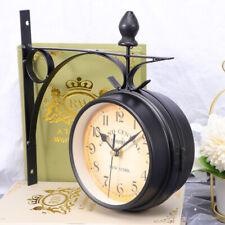 Horloge de Gare Rétro Double Face Pendule Murale Vintage d'Extérieur