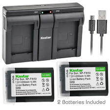 FW50 Battery & Charger for Sony Alpha a6000, ILCE-QX1,Cyber-shot DSC-RX10, NEX-3