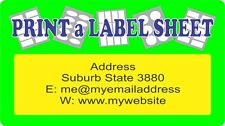 Colour Custom Personalised Labels / Stickers Laser Printed - 4 x A4 Sheets