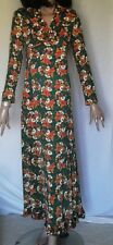 Vintage Autumn Colors Vintage Floral Green Polyester Long Dress B34