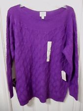 Women's Plus St. John's Bay Scoop Neck Cable Knit Sweater Purple 2X NEW