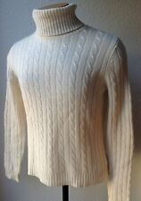 """M-A-G, by MAGASCHONI, IVORY TURTLE NECK CASHMERE CABLE KNIT SWEATER SZ M"