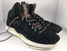 Nike Lebron 10 X EXT MVP Men US 14 Black + Mint Green Nubuck Suede  607078-001