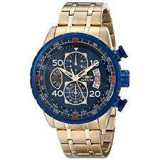 Invicta Mens Aviator Chronograph Blue Bezel Gold Two Tone 48mm Watch 19173