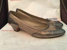 Salvatore Ferragamo Womens Wingtip Leather/Canvas Slip On Pumps Heels Shoes Sz 9