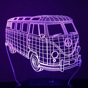 Kombi Van Volkswagen VW 3D Acrylic LED 7 Colour Night Light Touch Table Lamp