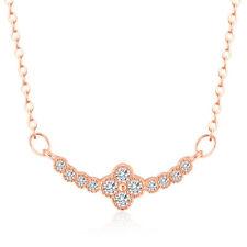 Halskette Kleeblatt echt Sterlingsilber 925 rosegold Zirkonia 44-49 cm Damen