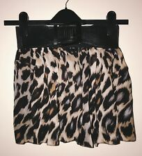 Korean Japanese Fashion Women Girls Leopard Print Belt Inset Skirt New One Size