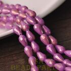 Hot 15pcs 12X8mm Gold Dust Teardrop Faceted Glass Loose Spacer Beads Fuchsia