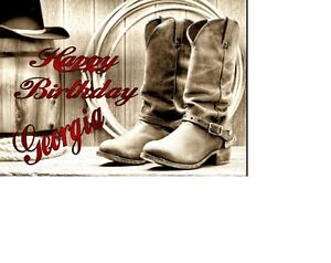 PERSONALISED Country And Western A5 Birthday card OCCASIONS GREETINGS  NAME AGE