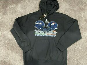 NEW Seattle Seahawks Super Bowl XLVIII Broncos Pullover Hoodie Mens Size LARGE