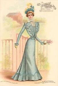 Rare April 1900 McCall Magazine 2 antique Color Plates McCall Pattern Models