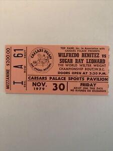 Sugar Ray Leonard vs Wilfred Benitez 1979 stubless ticket;Leonard 1st Title RARE