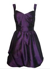 ASOS UK 10 Metallic Taffeta Style Hitch  Hem Prom Mini Dress Asymmetric Bodice