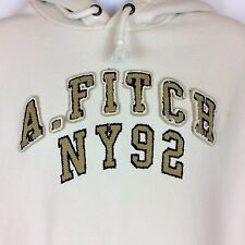 Abercrombie & Fitch NY92 Spellout Heavy Hoodie XL Embroidered Distressed Cream