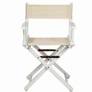 "18"" Director's Chair White Frame-White/White Canvas"