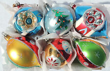 6 Lg Vtg Poland Santa Land Mica INDENT Mercury Glass Xmas Ornament Box Set #1110