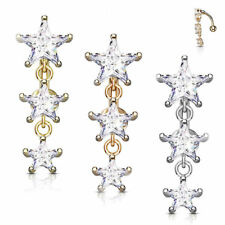 Reverse Belly Button Ring Star Design with Three Prong Clear Gems Vertical Drop