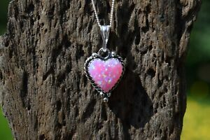 925 STERLING SILVER PINK OPAL GEMSTONE HEART NECKLACE TRIPLE COLOUR