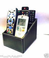 568- Black Leather Remote Stand Phone Stand Holder Storage Desk Cover Control