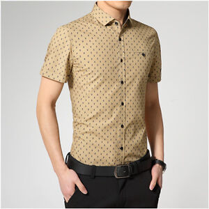 New Luxury Mens Dress Casual Stylish Slim Fit  Short Sleeve Polka Dot Shirts