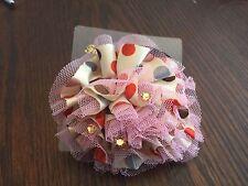 Pretty Fancy Cream w Pink & Gray Flower Velvette Ponytail Holder  New in Package