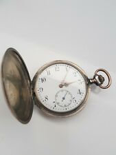Antique solid silver gents full hunter Rhenus pocket watch c1900 working